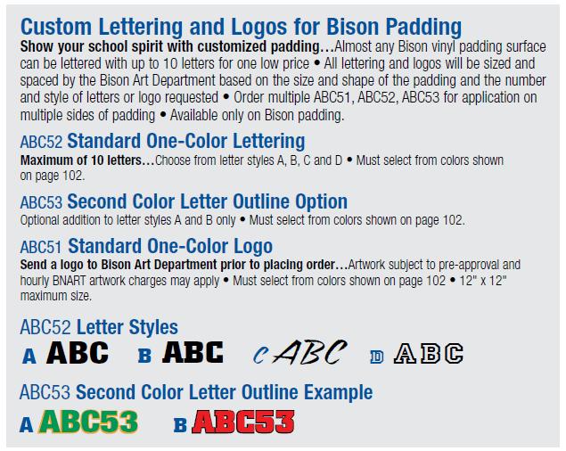 Bison Padding Custom Lettering Chart