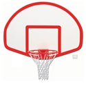 "Picture of Gared® 39"" x 54"" Fiberglass Fan-Shape Backboard with Target and Border"