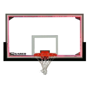 """Picture of Gared 42"""" x 72"""" Regulation Glass Basketball Backboard with Aluminum Frame and LED Light System"""
