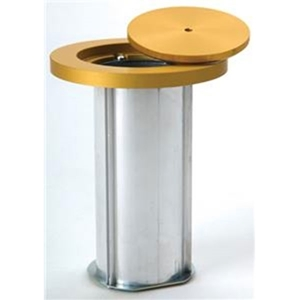 Picture of Bison Standard Volleyball Floor Sockets with Plated Aluminum Swiveling Cover Plate